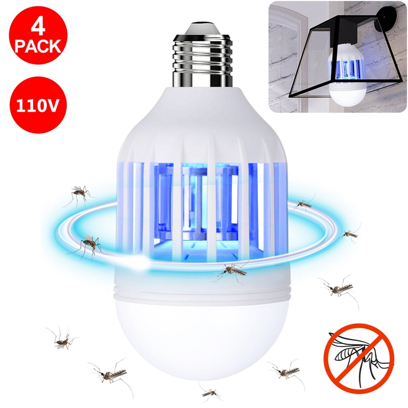 4PCS 110V 2 in 1 Light Zapper LED Lightbulb Mosquito Fly Insect Killer Bulb Lamp