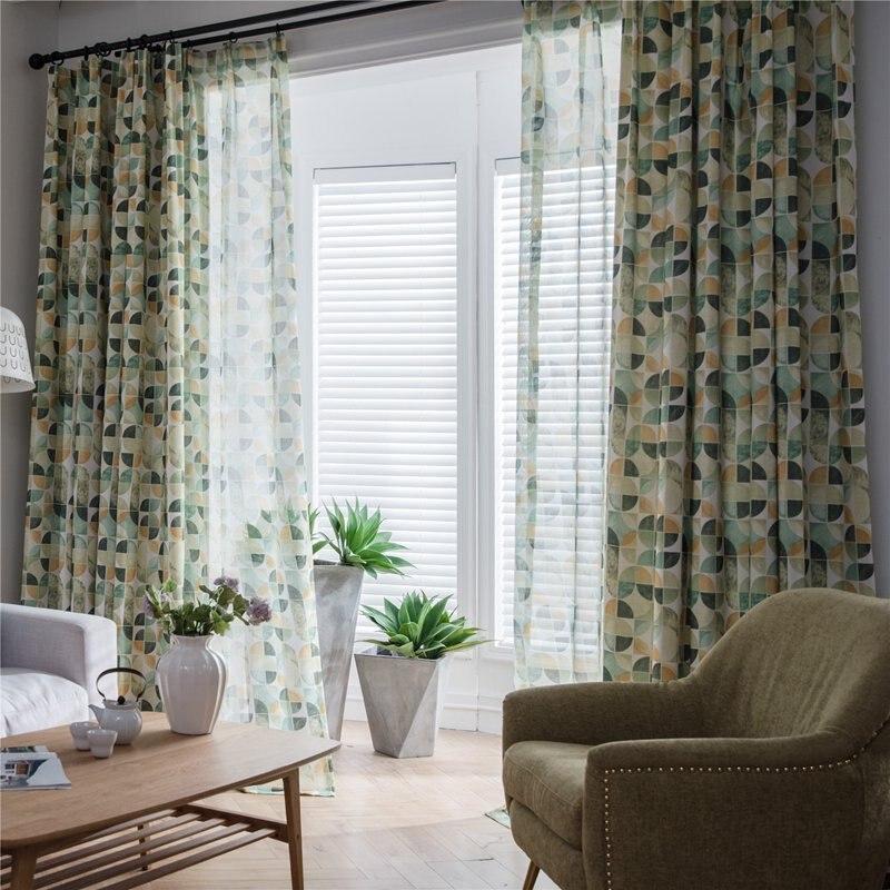 Европейский стиль современные круглые графические занавески для дома спальни Ткань окно украшение для штор