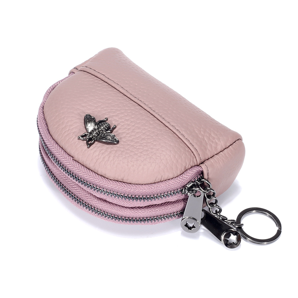 Purse Multilayer Simple Small Coin Bag Genuine Leather Double Layer Zipper Shell Women's Small Card Holder New Style Customizabl