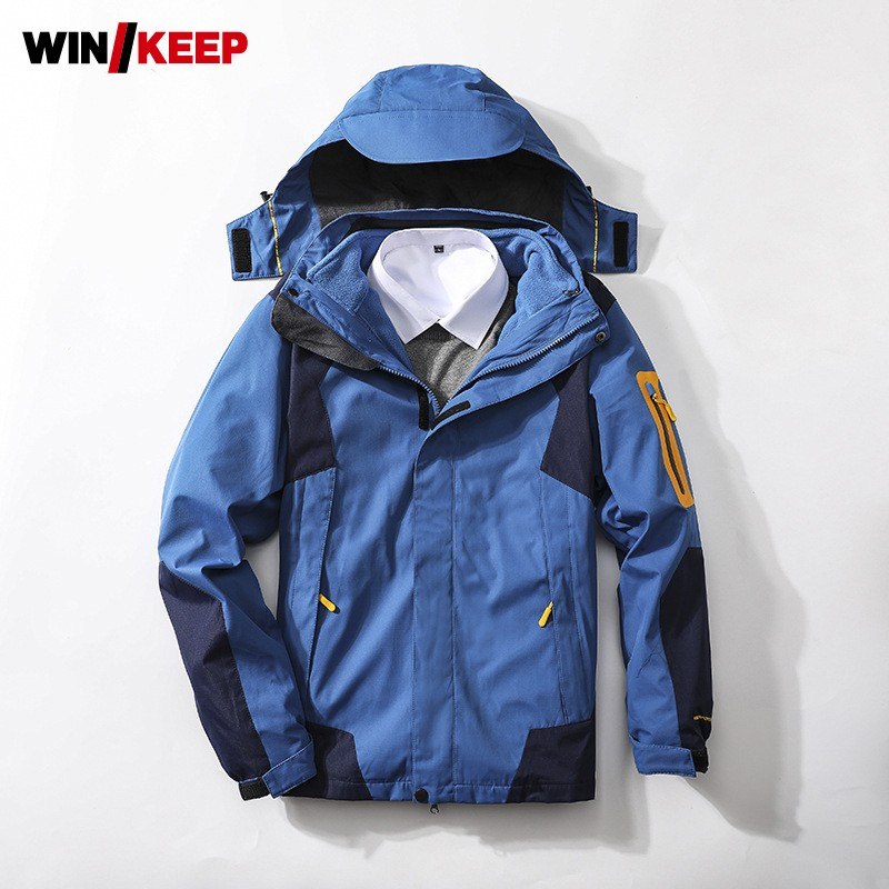 Unisex Autumn Winter Thin Fleece Liner Skiing Jacket Windproof Waterproof Warm Hooded Outdoor Jacket Detachable Outerwear 5XL