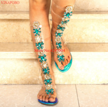 Women Bling Bling Rhinestone sandals Transparent Straps Long Flat shoe Knee high Gladiator Sandals Bohemia Style Crystal Sandals недорого