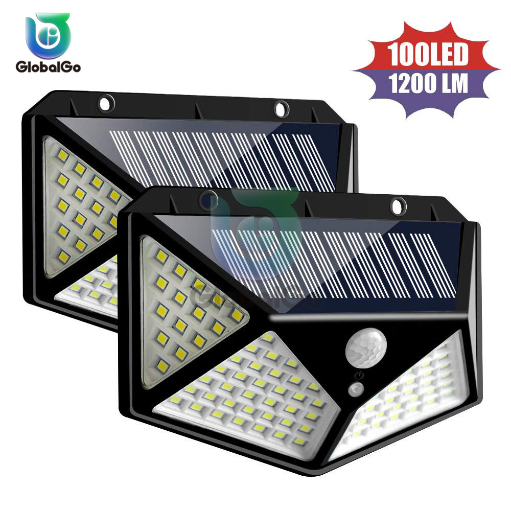 1200 MAh 100 LEDs Outdoor Solar Light PIR Motion Sensor Solar Garden Light Energy Saving Street Path Wall Lamp Sunlight