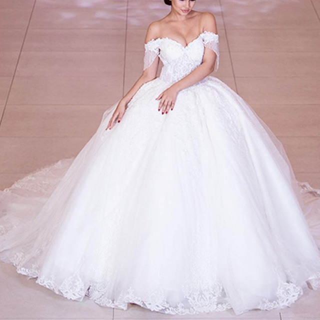 Luxury Beaded Lace Wedding Dresses Gorgeous Off Shoulder Tulle Bridal Wedding Gowns Sweetheart Princess Bridal Dress 2020 1
