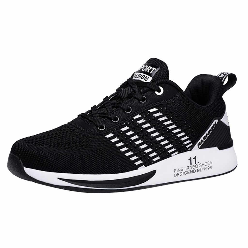 Модная обувь, не кожа, Мужская сетчатая дышащая повседневная обувь для бега, легкая спортивная обувь для ходьбы, мужские кроссовки, новинка
