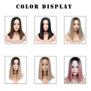 Image 5 - FAVE Ombre Jewelry Blue Pink Flax Brown Shoulder Length Straight Heat Resistant Synthetic Hair Wig For Black Women Cosplay
