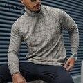 Осенняя Повседневная клетчатая рубашка с принтом Мужские 2021 весенние туфли с высоким, плотно облегающим шею воротником, пуловер Топы мужск...