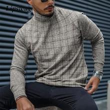 Outono casual xadrez impressão camisa dos homens 2021 primavera moda gola alta pulôver topos masculino manga longa magro camisa streetwear 4xl