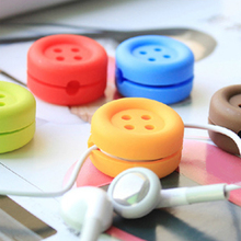 Headphone Winder 1 PC Wisely Easy Earphone Button Shape Cable Wire Organizer  Wrap Random Color
