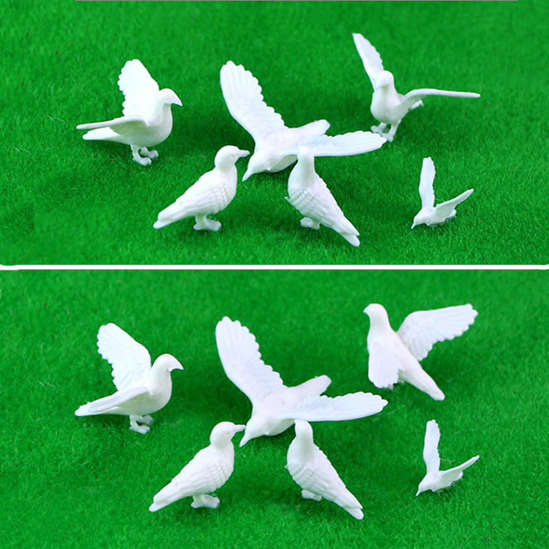 5pcs 2-5cm Model White Pigeons Toys Miniature Bird Species Layout Kits For Diorma Architecture Zoo Scene Making Material