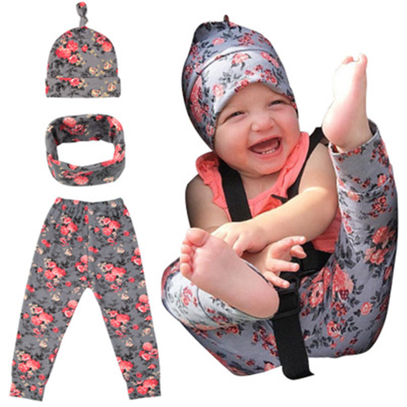 Waiwaibear Baby Kids Girls 3pcs in one parcel with Headscarf and Trousers scarf Babt Set in Rompers from Mother Kids
