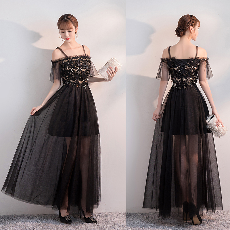 Elegant Wedding Party Junior Bridesmaid Dress Sister Sequined Tulle Illusion Sexy Prom Dress Ladies Long Gowns Black Vestidos
