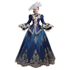 Средневековое платье Рококо барокко Мари Антуанетта синие Бальные платья 18-го века Ренессанс история периода платье для женщин