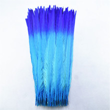 100Pcs/lot 40 45CM 16 18inch Two Colors Beautiful Pattern Ringneck Pheasant Tail Feathers for Crafts Carnival Decoration Plumes