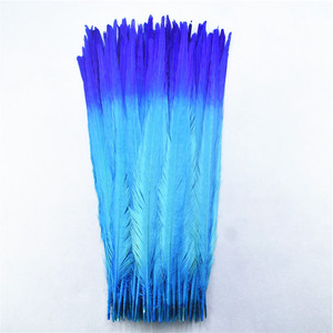 Image 1 - 100Pcs/lot 40 45CM 16 18inch Two Colors Beautiful Pattern Ringneck Pheasant Tail Feathers for Crafts Carnival Decoration Plumes