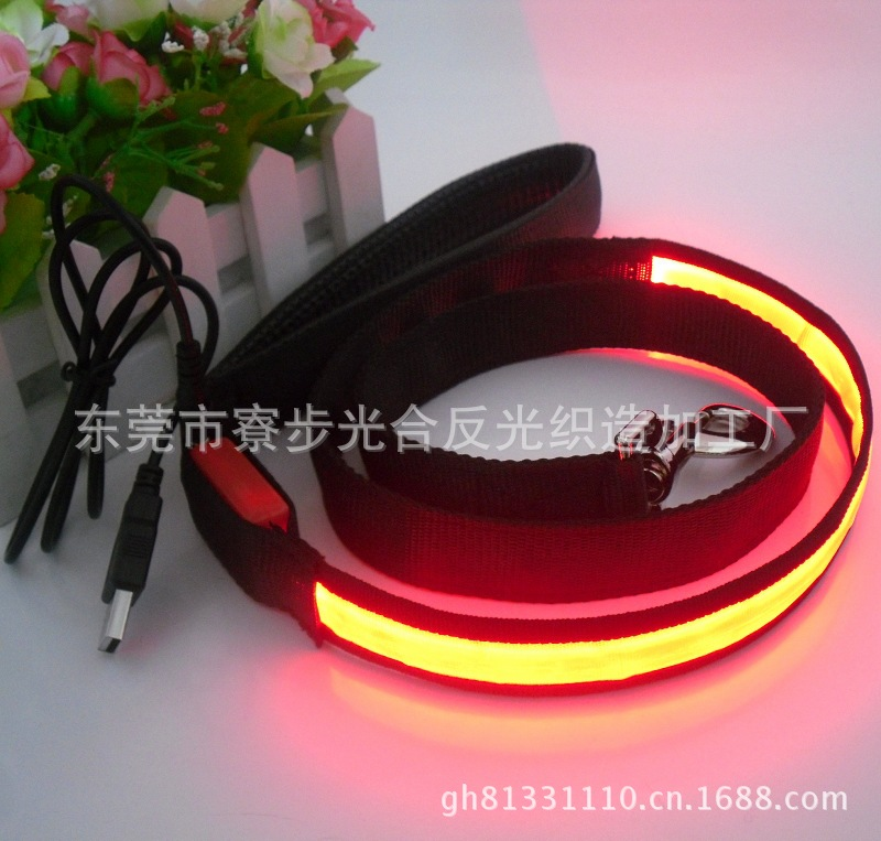 Pet Supplies USB Charging Flat Fiber Dog Traction Rope Chain LED Shining Traction Belt