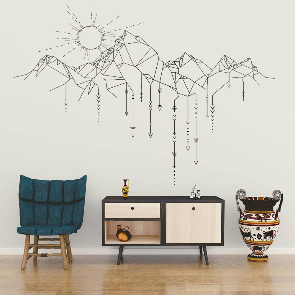 US $6.37 25% OFF|Wand Aufkleber Vinyl Aufkleber Sonne Berg Pfeil Wand Kunst  Design Wandbild Wohnzimmer Haus Home Dekoration Tapete DIY Decor WW 242-in  ...