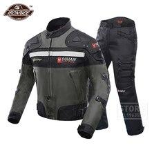 DUHAN Traje a prueba de viento para carreras de motos, armadura de equipo de protección, chaqueta y pantalones de motocicleta, protector de cadera, conjunto de ropa de motociclismo