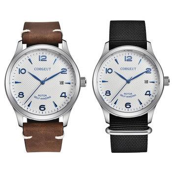 цена Automatic mechanical Watch mens  42MM Sapphire Glass 8215 Miyota、seagull  Nylon leather waterproof date fashtion white SS онлайн в 2017 году