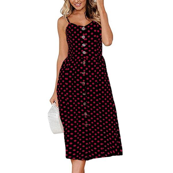 Boho Sexy Floral Dress Summer Vintage Casual Sundress Female Beach Dress Midi Button Backless Polka Dot Striped Women Dress2020  34