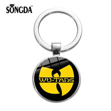 SONGDA New WU TANG CLAN Logo Keychain New York HIP-HOP Rap Band Art Poster Printed Glass Round Key Ring Music Fans Souvenir Gift(China)