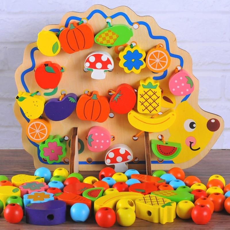 Hedgehog Fruit Building Blocks Shape Cognitive Threading Wood Rope Wear Game Children'S Educational Bead Toy