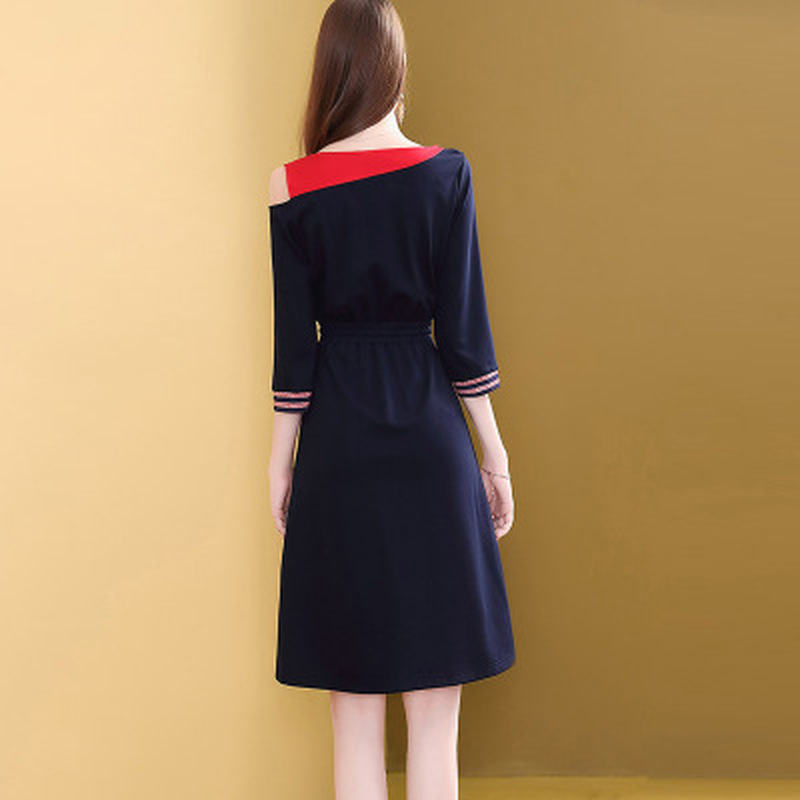 H44392835a41a4364b3aa663ea8c546dbA - Fashion New Drawstring Dress Women Elegant Slim Three Quarter Sleeve Casual Dress Korean Style A-Line Female Knee-Length Dress