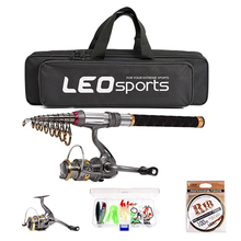 LEO Fishing Rod Reel Combo Carbon Telescopic Fishing Pole Spinning Reels with Fishing Bag Line Lures Hooks Jig new lure rod set spinning rod fishing reel combos full kit 1 8m 3 0m fishing rod pole reel line lures hooks portable bag