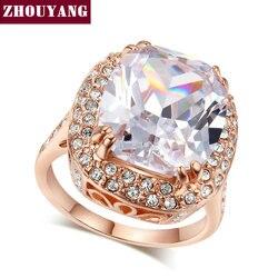ZHOUYANG Top Quality ZYR055 Big Four Claw Rose Gold Color Princess Cut Cubic Zirconia Wedding Ring Austrian Crystals