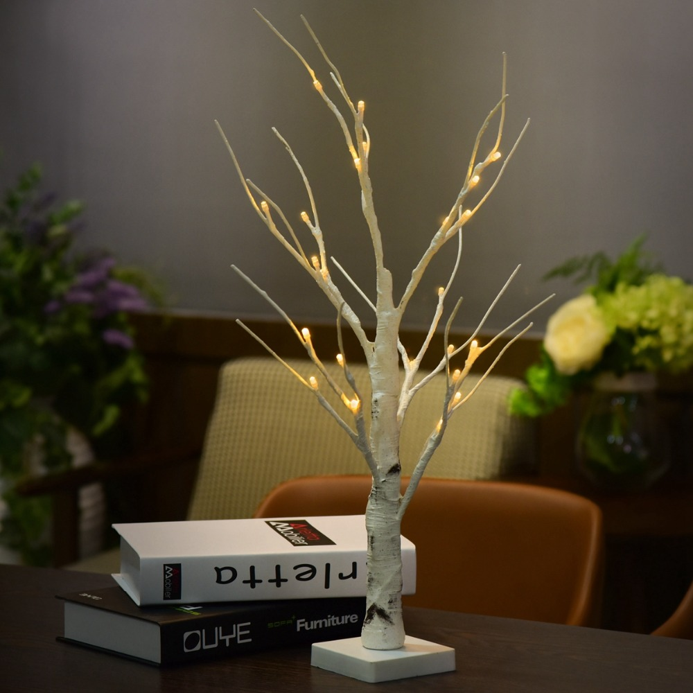 Battery Operated 45cm 60cm LED White Birch Tree Night Light Table Light Christmas Wedding Bedroom Decorative Tree Branches Lamps