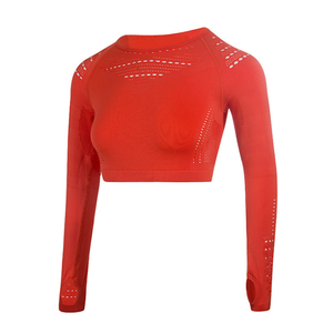 Image 5 - 女性のシームレス長袖クロップトップ yoga シャツ親指穴ランニングフィットネストレーニングトップシャツ yoga 製品ジム服