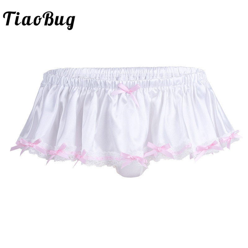 Men Underpants Ivory Soft Shiny Bowknot Ruffled Lace Lingerie Skirted Sissy Panties Bikini Briefs Sexy Male Gay Underwear