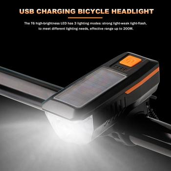 USB T6 Solar Bike Light With Horn Super Bright Bicycle Headlight 3 Lighting Modes Front Lamp Abs Flashlight Bicycle Accessories