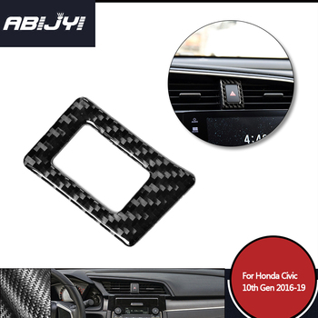 1piece Car Styling Carbon Fiber Warning Light Switch Decor Cover Trim For Honda Civic 10th Gen 2016-2019 Car Accessories image
