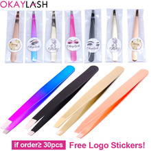OKAYLASH Private Label Eyebrow Tweezers Rose Gold Pincet Clips Stainless Steel Face Hair Removal Beautfy Makeup Tool