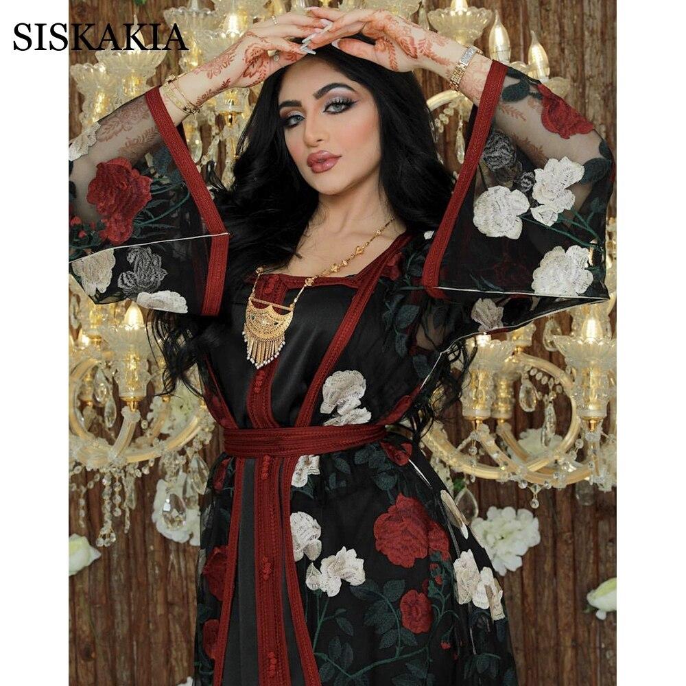Siskakia Full Body Embroidered Lace Mesh Abaya Set Dubai Arabic Turkish Noble Kaftan Long Dress Muslim