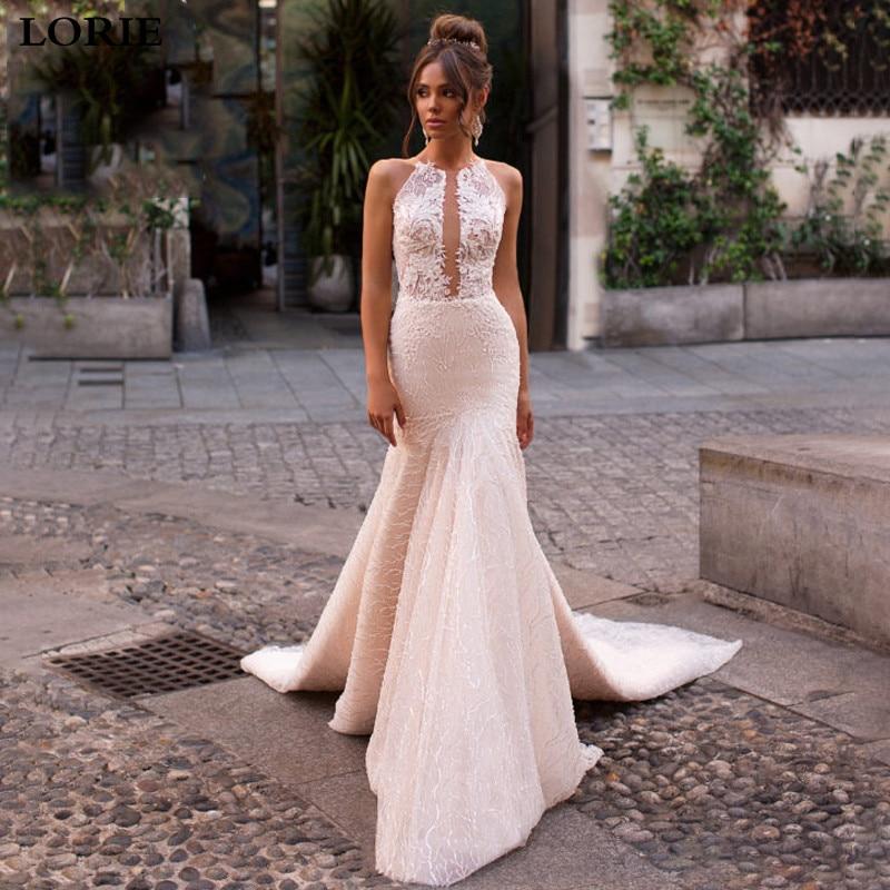 LORIE Sexy Mermaid Wedding Dress 2019 Elegant Lace Princess Bridal Dress Sleeveless Romantic Appliques  Vestidos De Novia