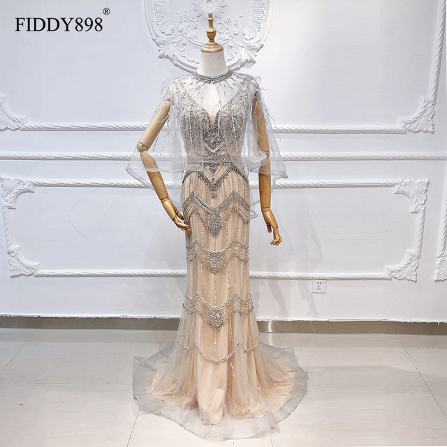 Gorgeous Mermaid Evening Dress Long with Cape V Neck Tulle Luxury Stone Beaded Feather Formal Party Gown 2 Colors Robe Soiree