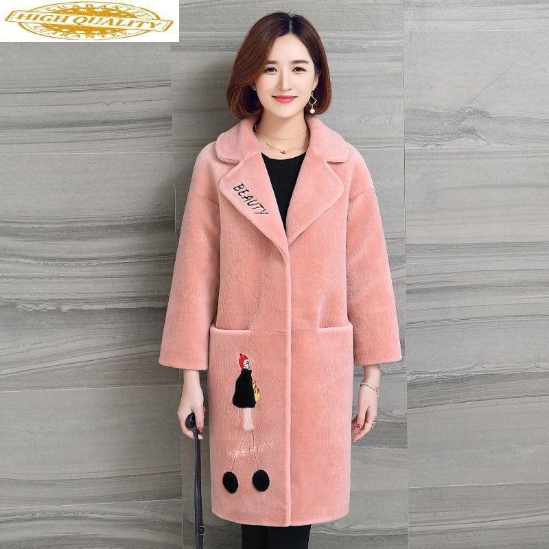 Real Fur Coat 2020 Fall Winter Jacket Women Long Sheep Shearing Wool Fur Coats Korean Womens Jackets Abrigo Mujer KJ895