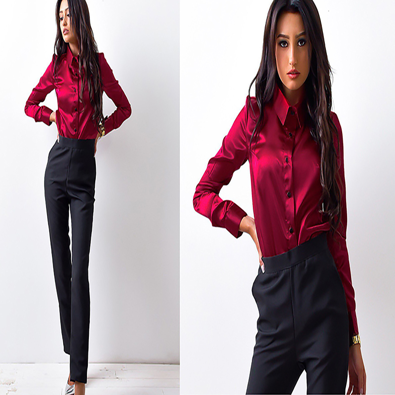 H4439d201f1174b6b9ffc9dfe4ab03b20M - new fashion Autumn spring women shirts casual office Ladies button lapel long-sleeved Blouse elegant Solid Female Tops