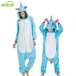 Crianças mãe e filha família ponto pijama encapuzados definir animais unicorn Pegasus correspondência pijamas roupas sleepwear inverno