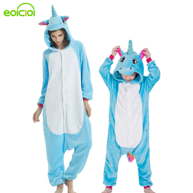 Kids Mother And Daughter Hooded Pajamas Set Animal Unicorn Pegasus Stitch Family Matching Pyjamas Outfits Winter Sleepwear