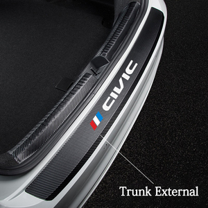 Carbon Fiber Car Rear Bumper Trunk Guard Protected Leather Stickers Vinyl Decals For Honda Civic 10th 8th Type R 2008 2012 2018