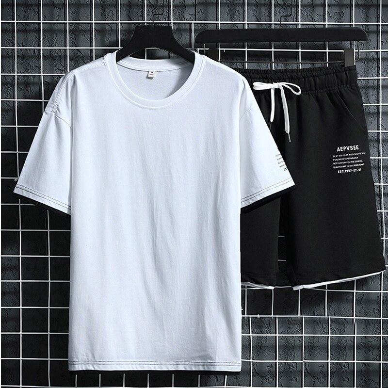 Cotton Short Sleeve T-shirt & Shorts Men Summer 2020 New Loose Casual Fashion Trend Solid Tops Short Pants Men's Sets Plus Size