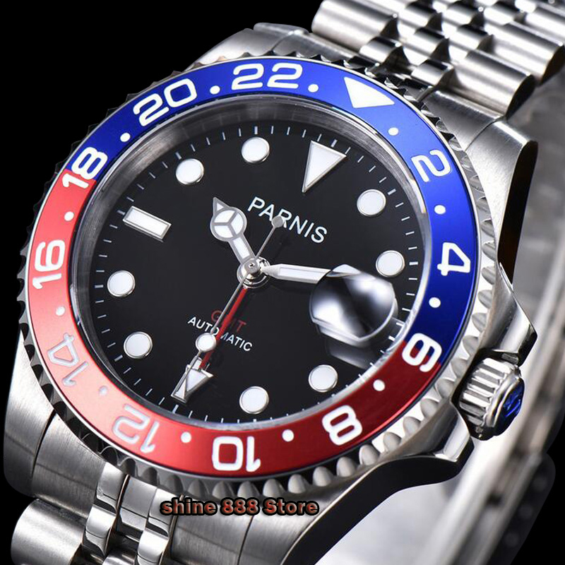 <font><b>Parnis</b></font> <font><b>40mm</b></font> <font><b>Watch</b></font> Men Automatic Mechanical <font><b>Watches</b></font> GMT Luxury Sapphire Crystal Ceramic Bezel Luminous Waterproof men's <font><b>watches</b></font> image
