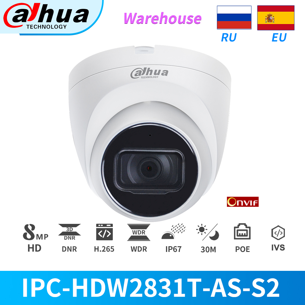 Dahua IP Camera 8MP 4K IR Fixed-focal PoE Built-in Mic IPC-HDW2831T-AS CCTV Security Camera Outdoor With SD Card Slot IVS Onvif