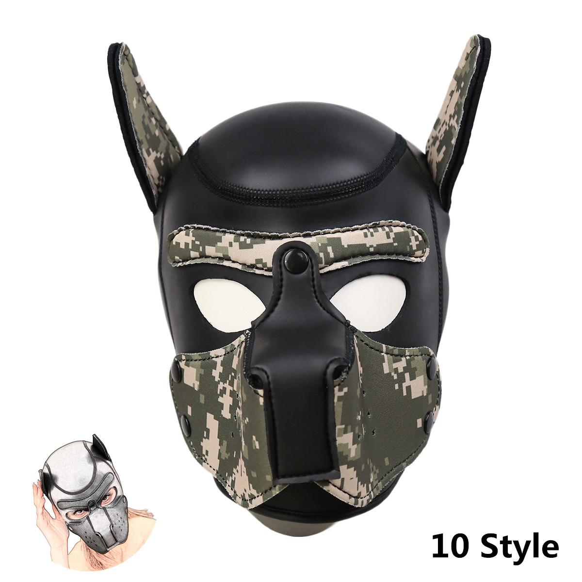 GENUINE LEATHER FACE MUZZLE HOOD MASK WITH BLINDFOLD HOOD-2