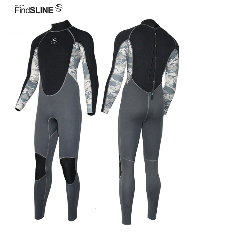 FINDSLINE 2mm Neoprene Back Zipper Wetsuit Men Full Body Jumpsuit Long Sleeved Keep Warm Surfing Diving Suit Anti-UV Diving Suit