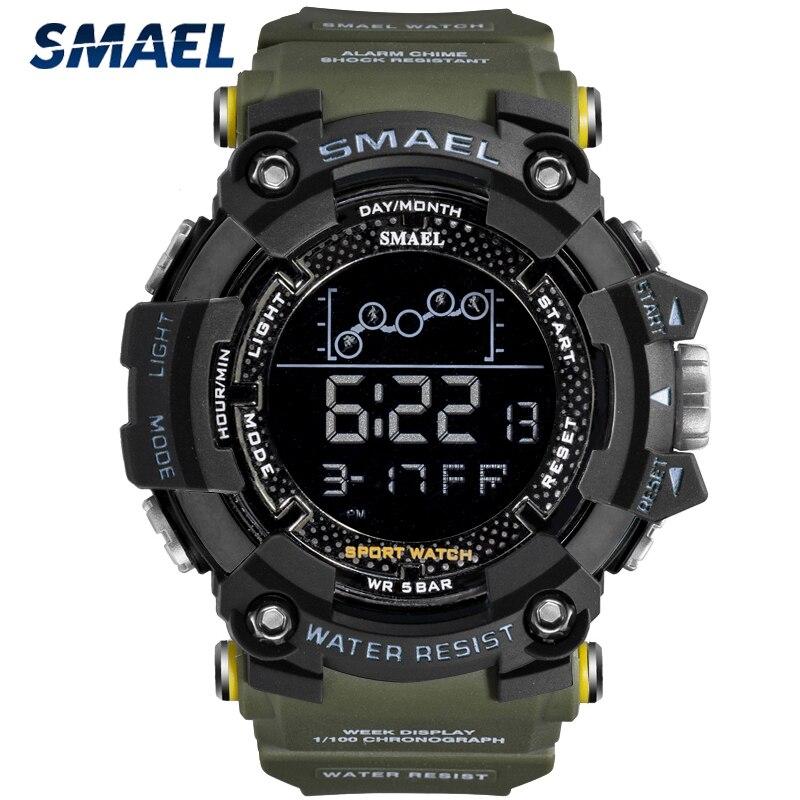 SMAEL Military Sport Watch Mens Stopwatch Waterproof Chrono Digital Wristwatches For Men Chronograph Clock Relogio Masculino
