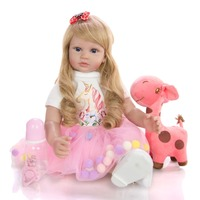 KEIUMI 24 Inch Elegant Reborn Baby Girl Doll 60 cm Soft Vinyl Cloth Body Princess Doll Lifelike Boneca Reborn Kids Best Playmate