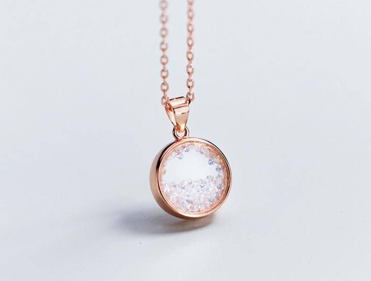 Authentic 1pc 100%REAL. 925 Sterling Silver FINE Jewelry Broken Stones Into The Glass Round Geometric Necklace Pendant  GTLx1744